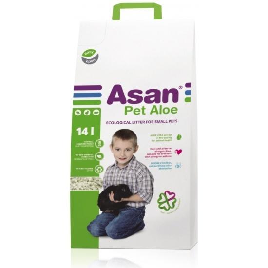 Наполнитель для мелких грызунов Асан Asan Pet Aloe 14L, бумажный с алоэ вера(70067)
