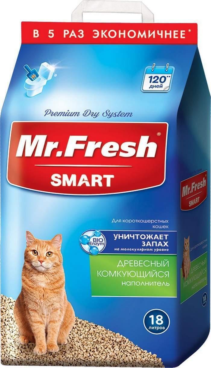 Mr.Fresh Smart древесный комкующийся наполнитель для кошек короткошерстных пород 18 л