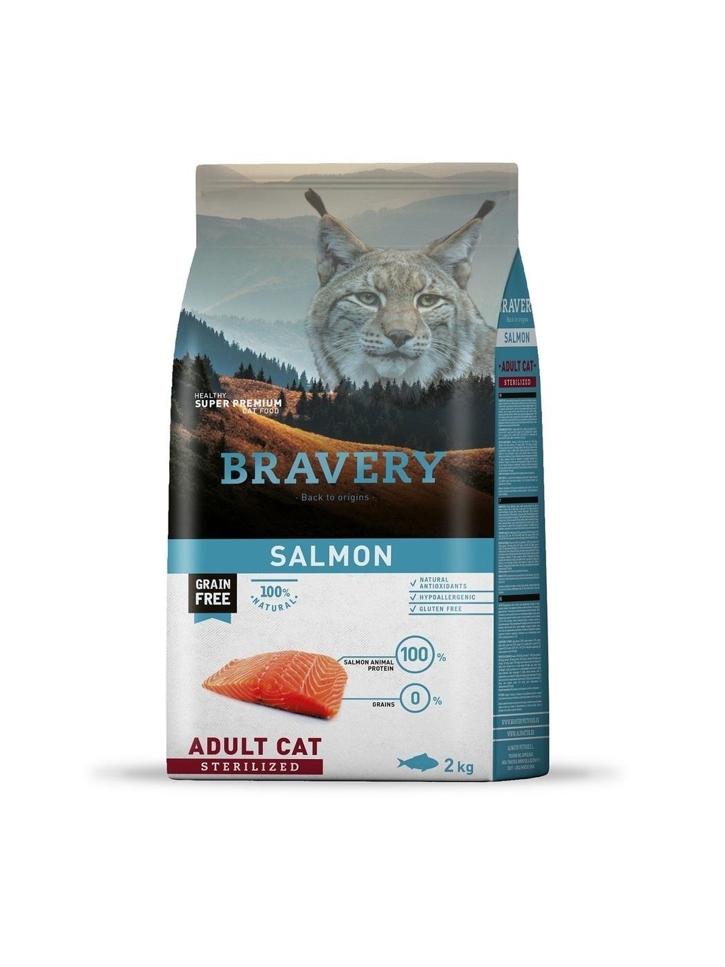 Bravery cat salmon sterilized корм для Стерилизованных кошек Лосось 2кг