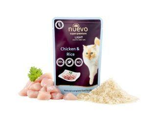 конс.Nuevo (Нуэво) 85г Light для кошек облегчённый, курица с рисом (1/16) дойпак