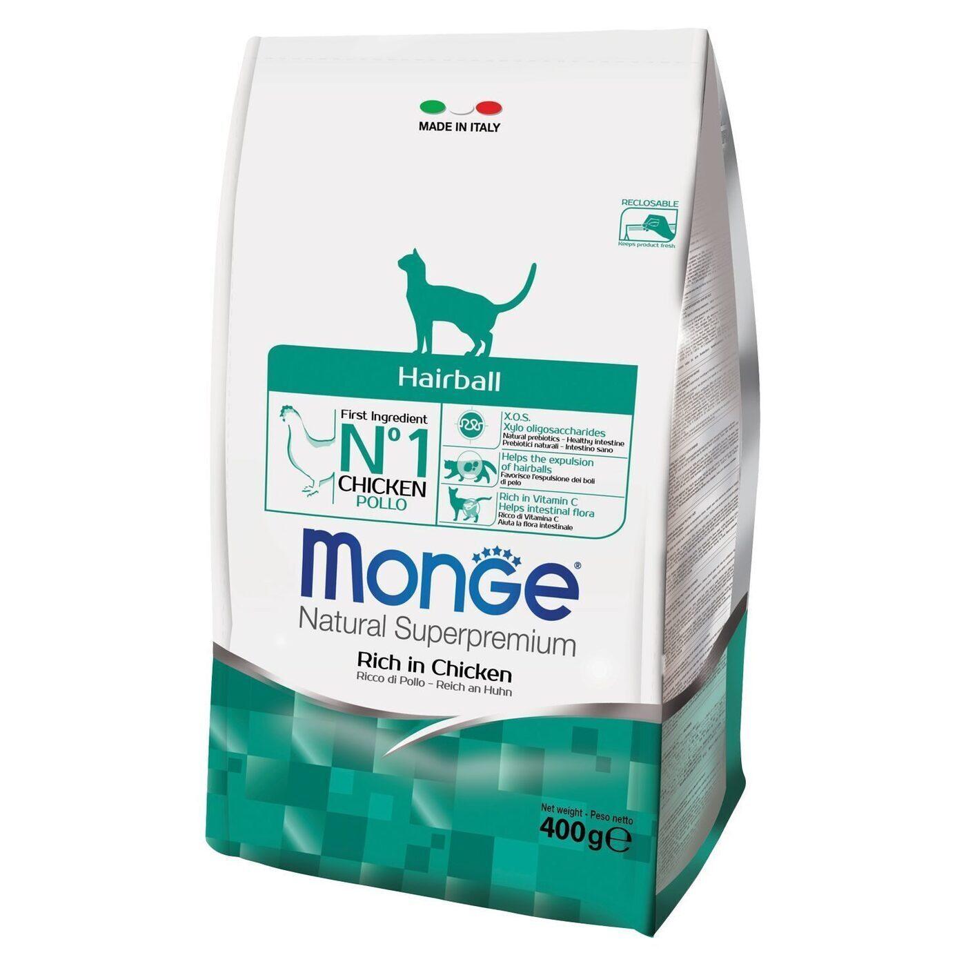 Monge Cat Hairball корм для кошек всех пород и возрастов, для выведения шерсти 400 гр, 300100816