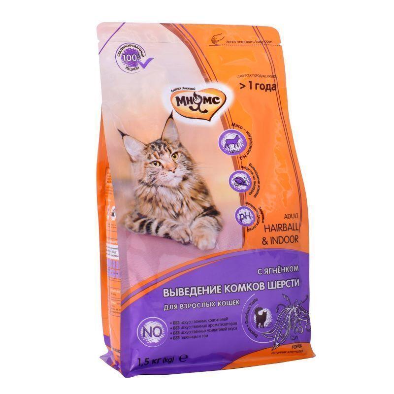 Мнямс корм для взрослых кошек всех пород, вывод комочков шерсти, ягненок и курица 1,5 кг