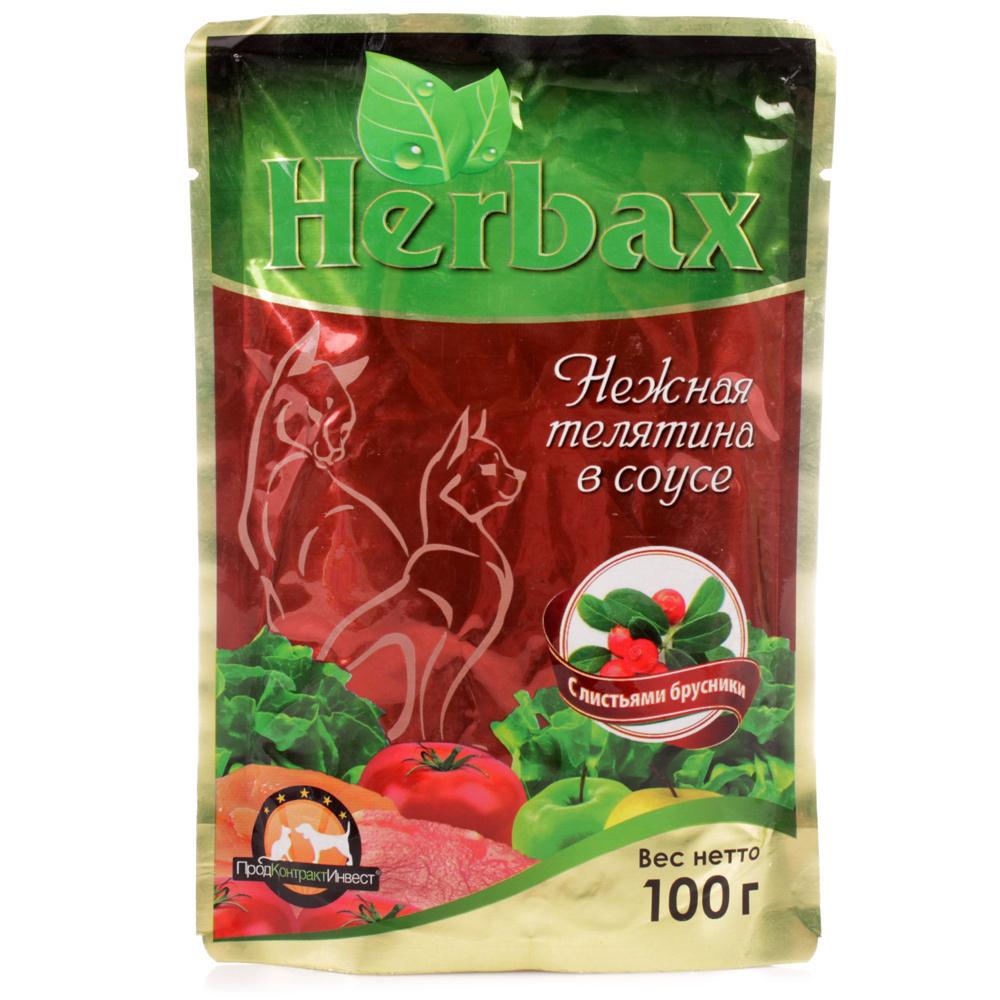 Хербакс пауч дкошек Мясное ассорти в соусе с листьями брусники 100г