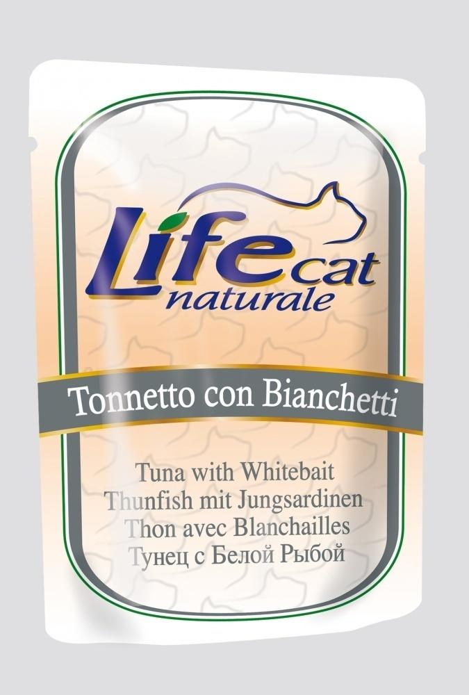 Lifecat Деликатес для кошек ТунецБелая Рыба в желе 70гр 130