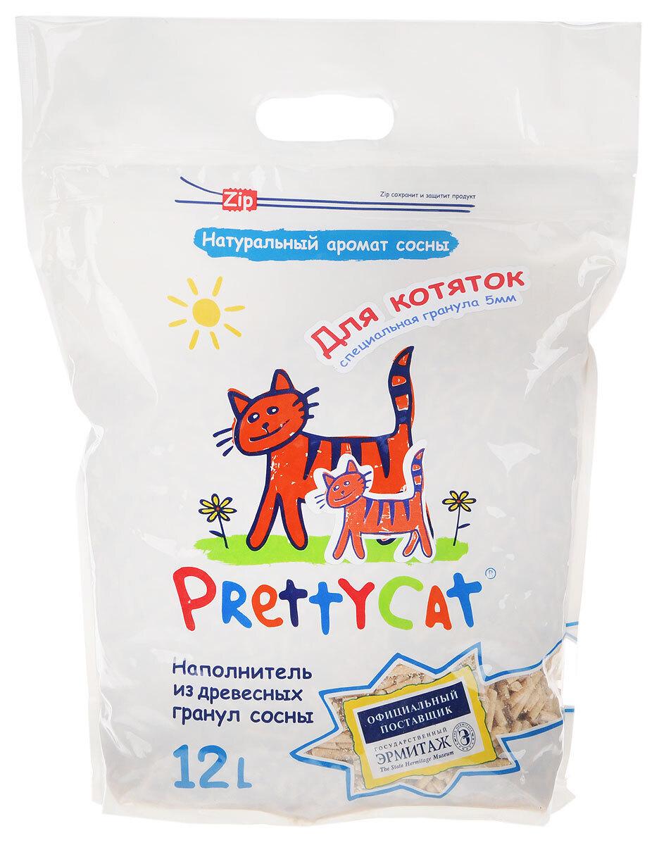 PrettyCat наполнитель древесный для котят Wood Granules 12 л