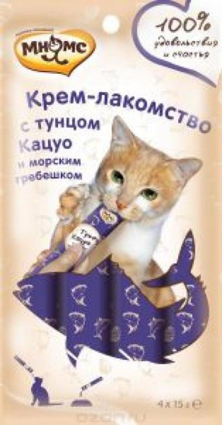 Мнямс крем-лакомство для кошек, с тунцом кацуо и морским гребешком 15 гр