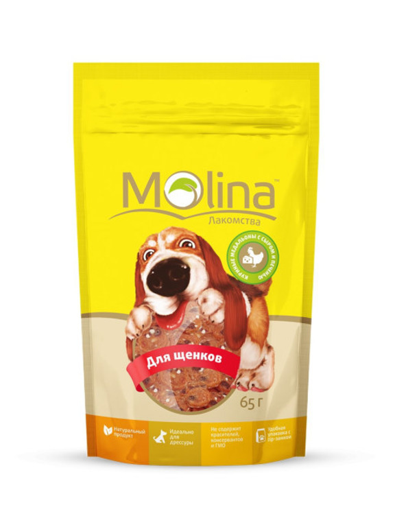 Molina лакомство для щенков, куриные медальоны с сыром и печенью 65 гр
