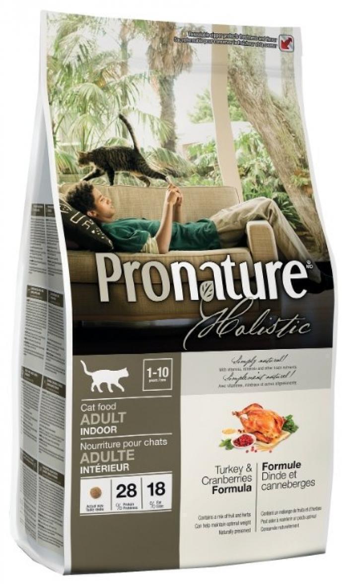 Pronature корм для взрослых кошек всех пород, живущих в помещении, индейка с клюквой 5,44 кг