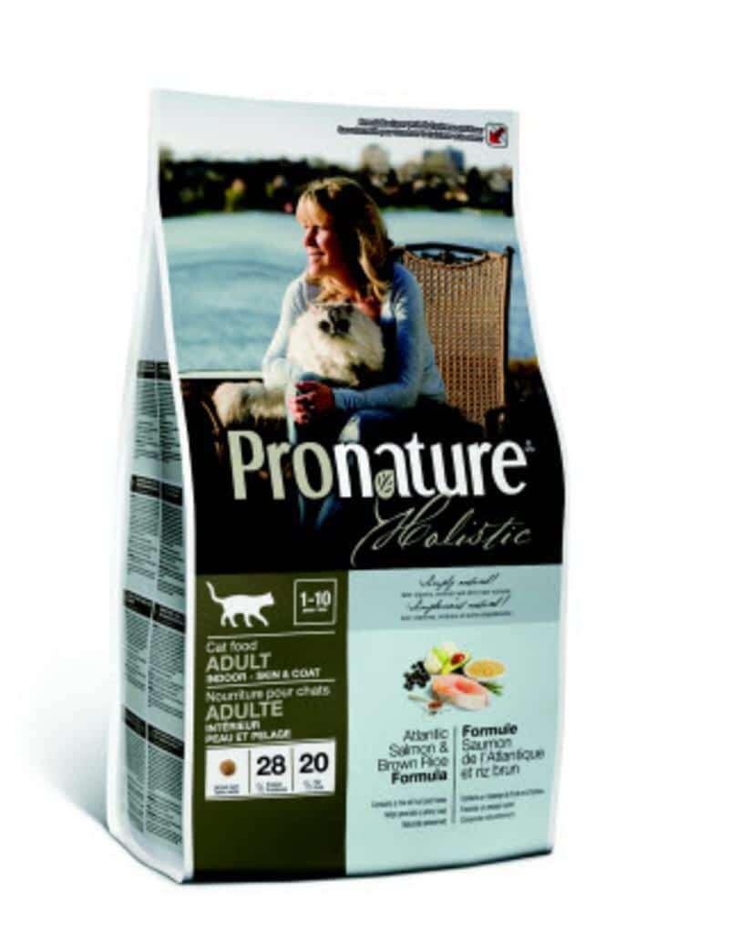 Pronature корм для взрослых кошек всех пород, живущих в помещении, лосось и коричневый рис 340 гр