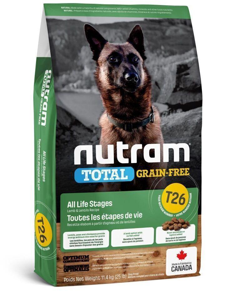 Nutram корм для взрослых собак всех пород, беззерновой, ягненок и бобовые 11,4 кг