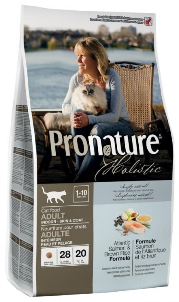 Pronature корм для взрослых кошек всех пород, живущих в помещении, лосось и коричневый рис 5,44 кг