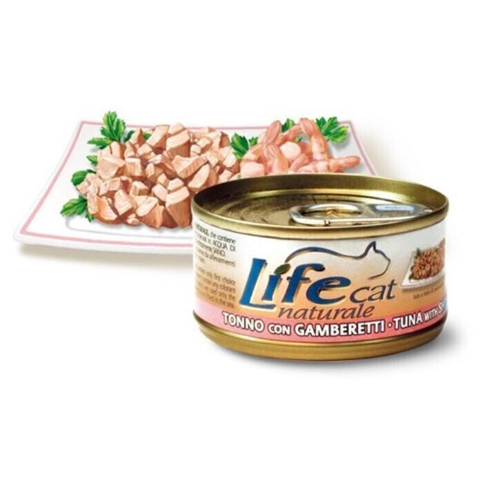 Lifecat chicken with shrimps 85g - консервы для кошек курица с креветками в бульоне 85 гр. 1/24