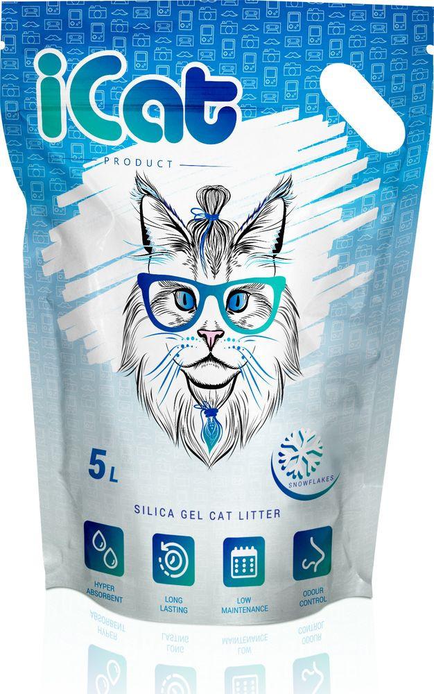 iCat Snow Flakes силикагелевый наполнитель для кошачьих туалетов 5 л