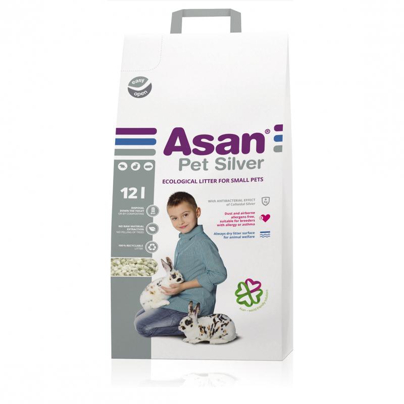 Наполнитель для мелких грызунов Асан Asan Pet Silver 12L, бумажный с коллоидным серебром(70098)