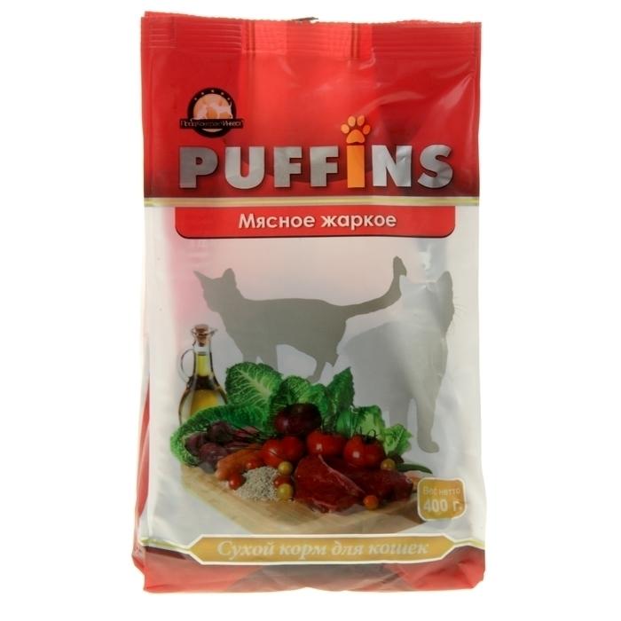 Puffins сухой корм для кошек 400гр  Мясное жаркое 1/18