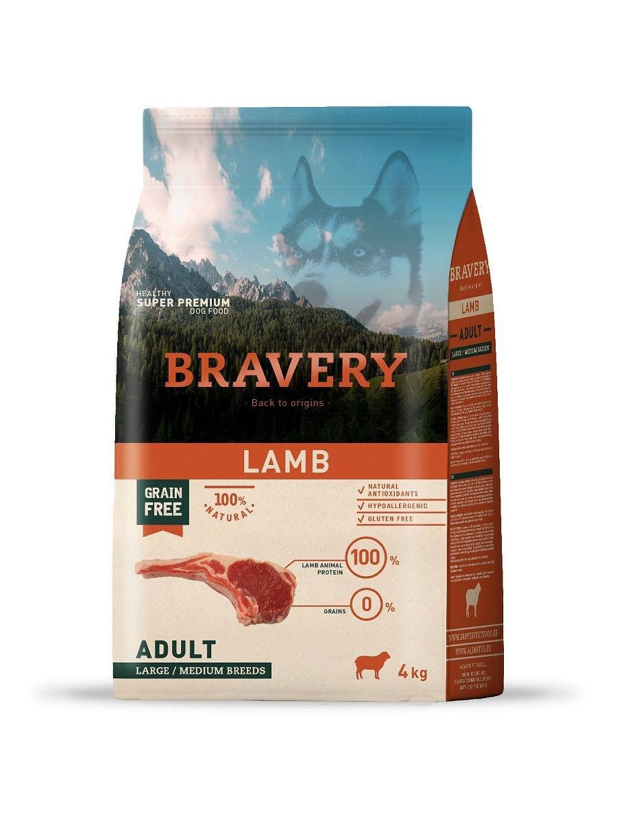 Bravery lamb adult large/medium breeds корм для собак Крупных и Средних пород Ягненок 4кг
