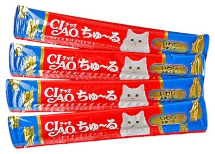 CIAO лакомство для кошек, иваси и желтоперый тунец 56 гр