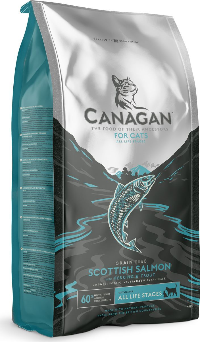 Canagan корм для котят и взрослых кошек всех пород, беззерновой, лосось 375 гр