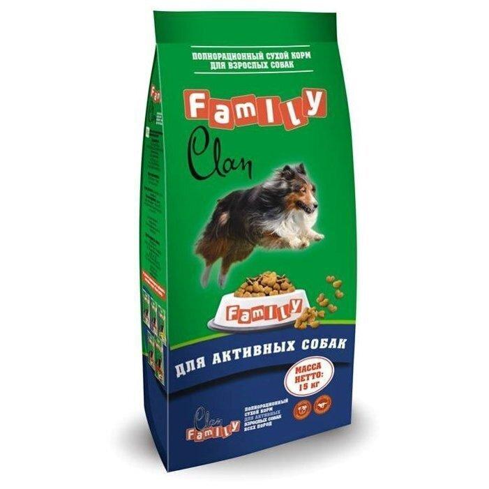 Clan Family корм для взрослых активных собак всех пород, курица 15 кг