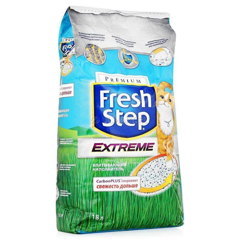 Fresh Step Extreme впитывающий наполнитель с тройным контролем запахов 18 л