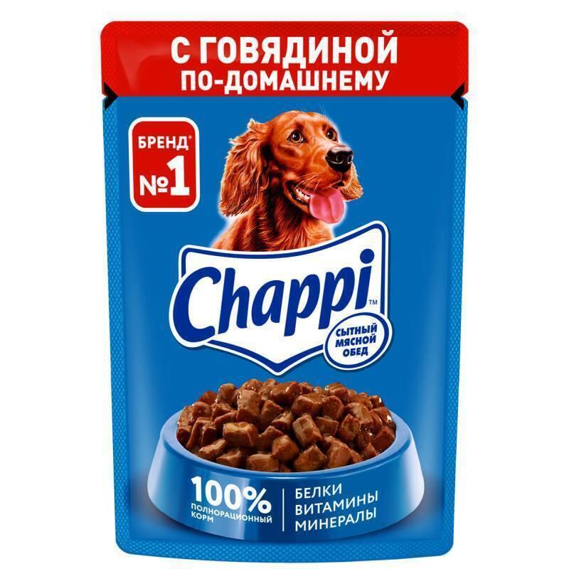 Chappi Влажный корм для собак Chappi Сытный мясной обед, Говядина по-домашнему, 85г 10222863, 0,085 кг, 43484
