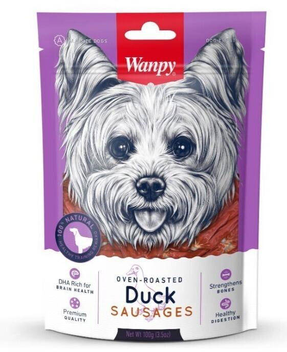 Wanpy лакомство для взрослых собак всех пород, утиные сосиски 100 гр