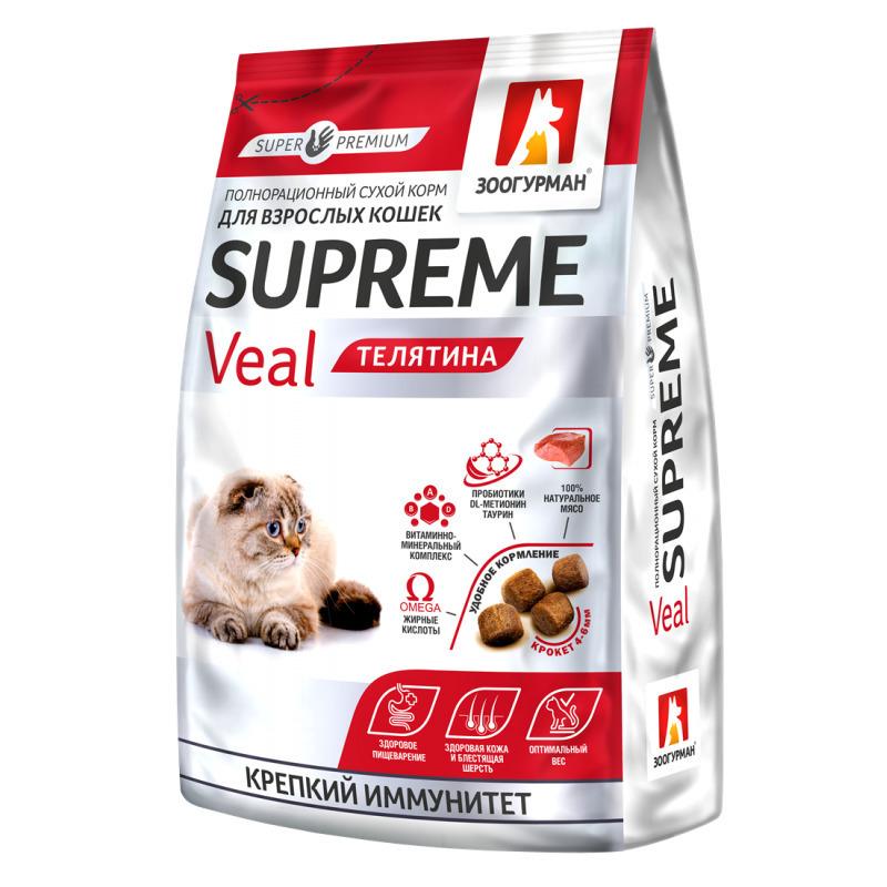 Зоогурман корм для взрослых кошек всех пород, телятина 10 кг