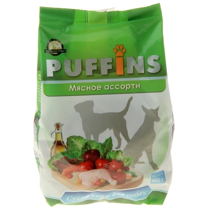 Puffins сухой корм для собак 500гр Мясное ассорти 116