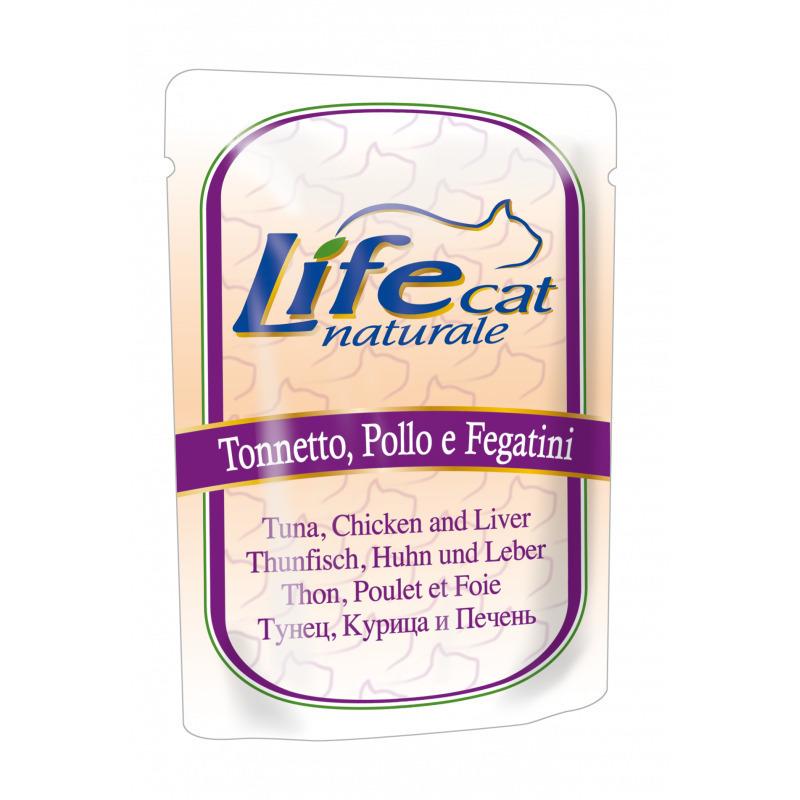 Lifecat tuna, chicken and liver 70g - консервы для кошек с тунцом, курицей  и печенью в желе ПАУЧ 70 гр. 1/30