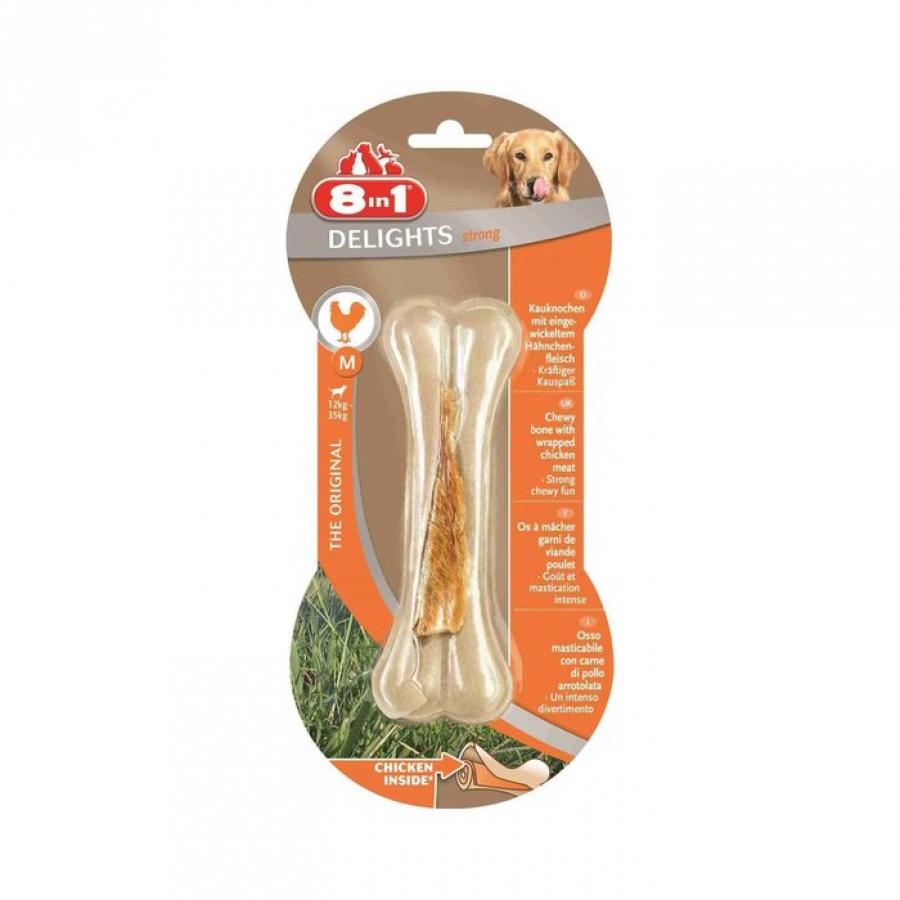 8 в 1 (deshedder и лакомства) Косточка для средних и крупных собак с куриным мясом, 14,5 см, M (сверхпрочная) 110781, 0,118 кг