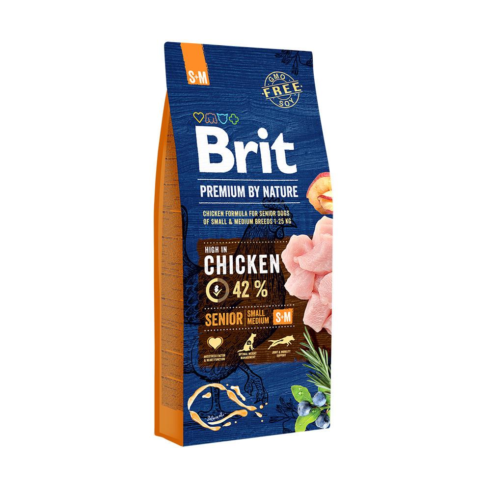 Brit Premium корм для пожилых собак малых и средних пород, курица 1 кг