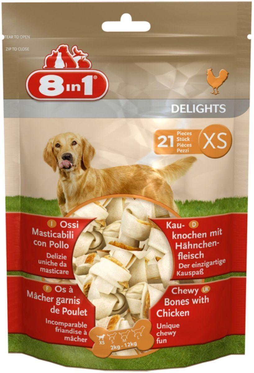 8 in 1 лакомство для взрослых собак малых пород, косточки с куриным мясом 7,5 см