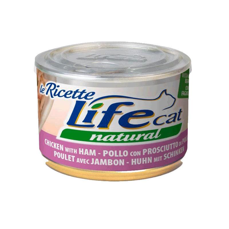 Lifecat chicken with ham 85g - консервы для кошек курица с ветчиной в бульоне 85 гр. 124