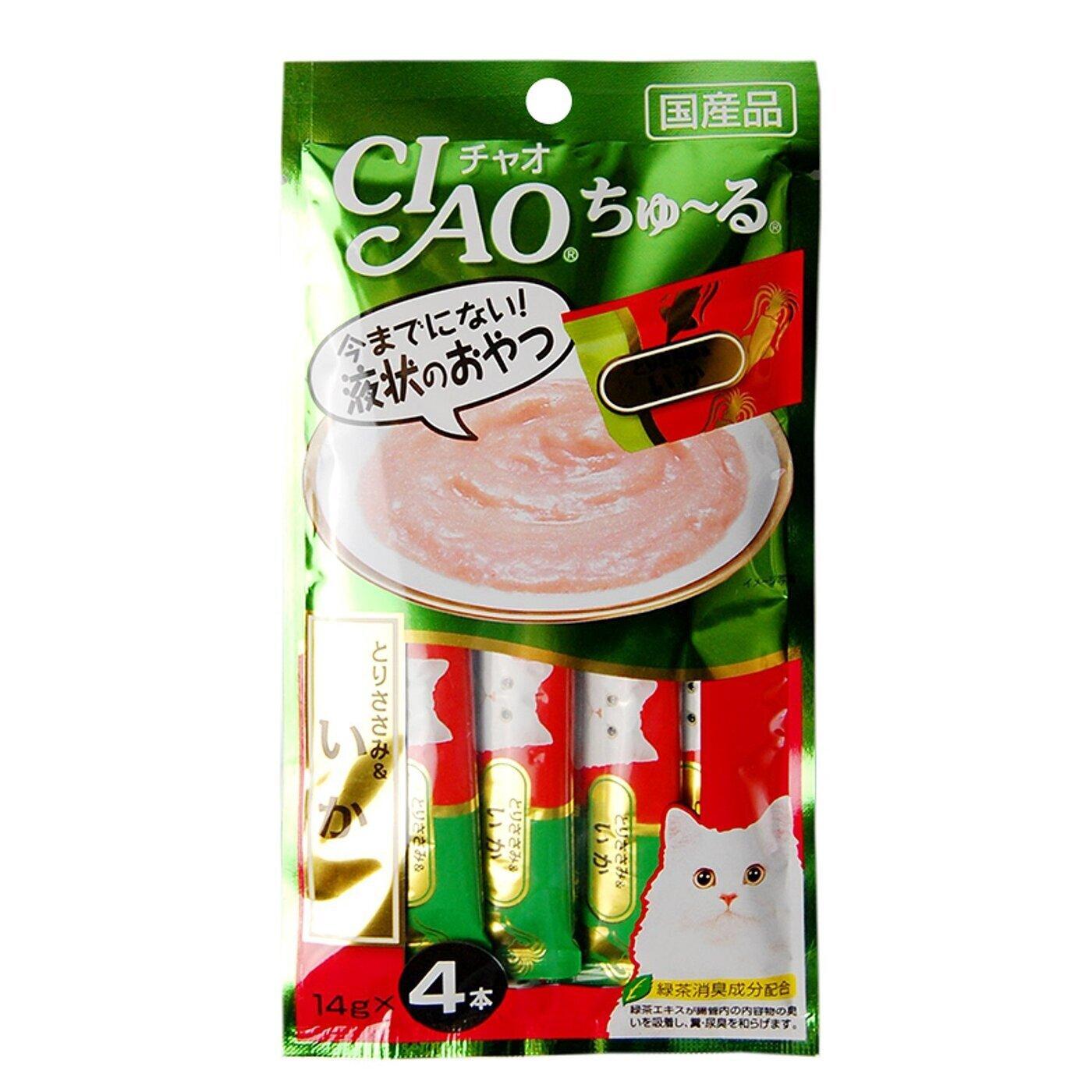 CIAO лакомство для кошек, кальмар и парное филе 56 гр