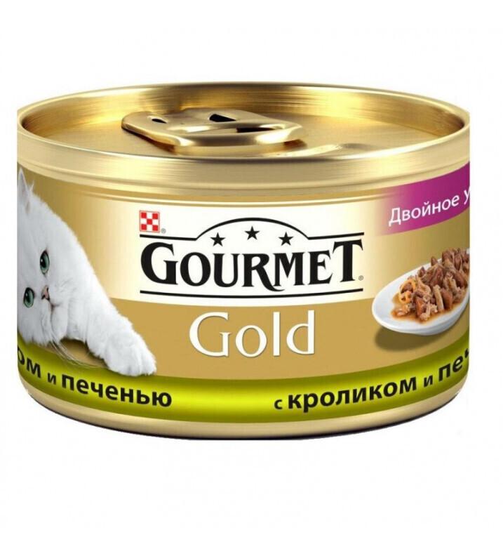 Gourmet Gold влажный корм для взрослых кошек всех пород, кусочки в соусе с кроликом и печенью 85 гр