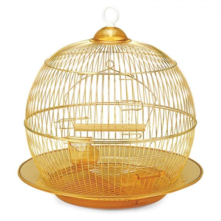 350G Клетка для птиц круглая, золото, d350*330мм