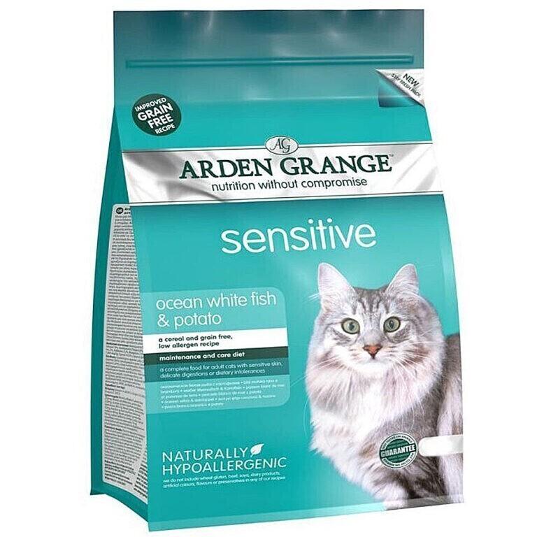 Arden Grange корм для взрослых кошек всех пород, деликатное пищеварение, рыба 400 гр