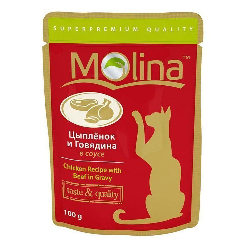Molina влажный корм для взрослых кошек всех пород, цыпленок и говядина в соусе 100 гр