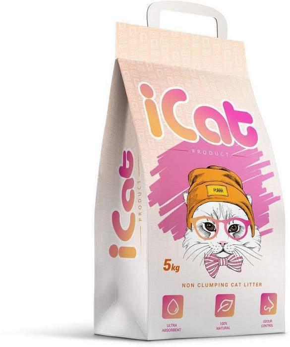 iCat впитывающий наполнитель для кошачьих туалетов, без ароматизатора 5 кг