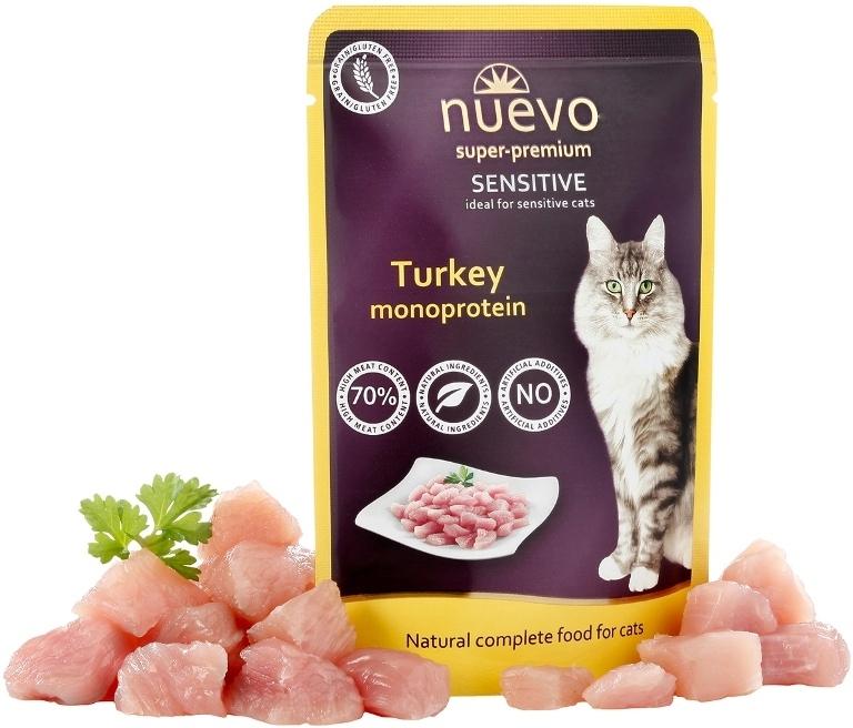 конс.Nuevo (Нуэво)  85г Sensitive Mono дчувств. кошек, монобелковые с индейкой (116) дойпак