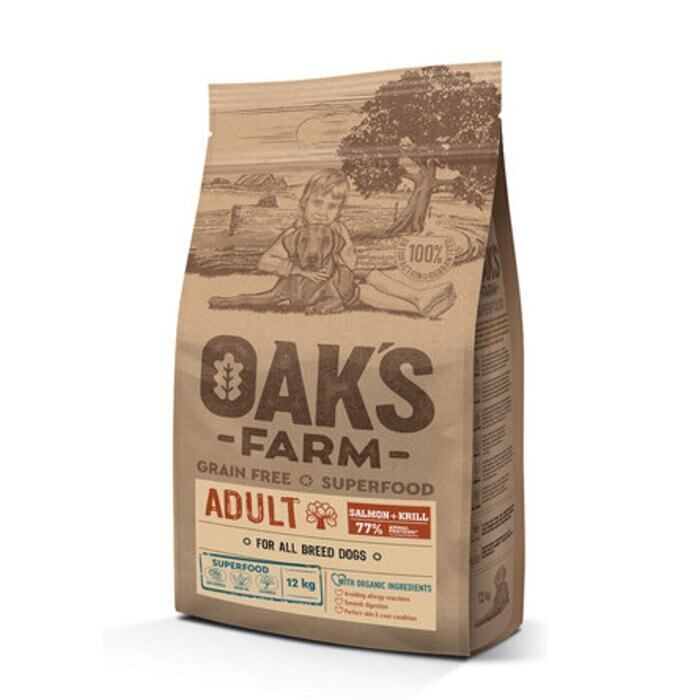 Oaks Farm GF сухой корм для щенков 3-12 мес., лосось и криль 12 кг