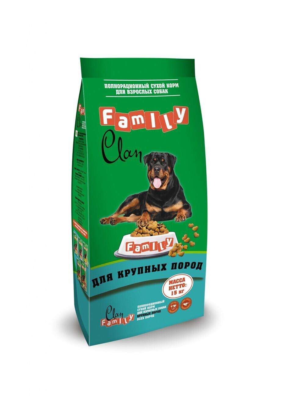 Clan Family корм для взрослых собак крупных пород, птица 15 кг