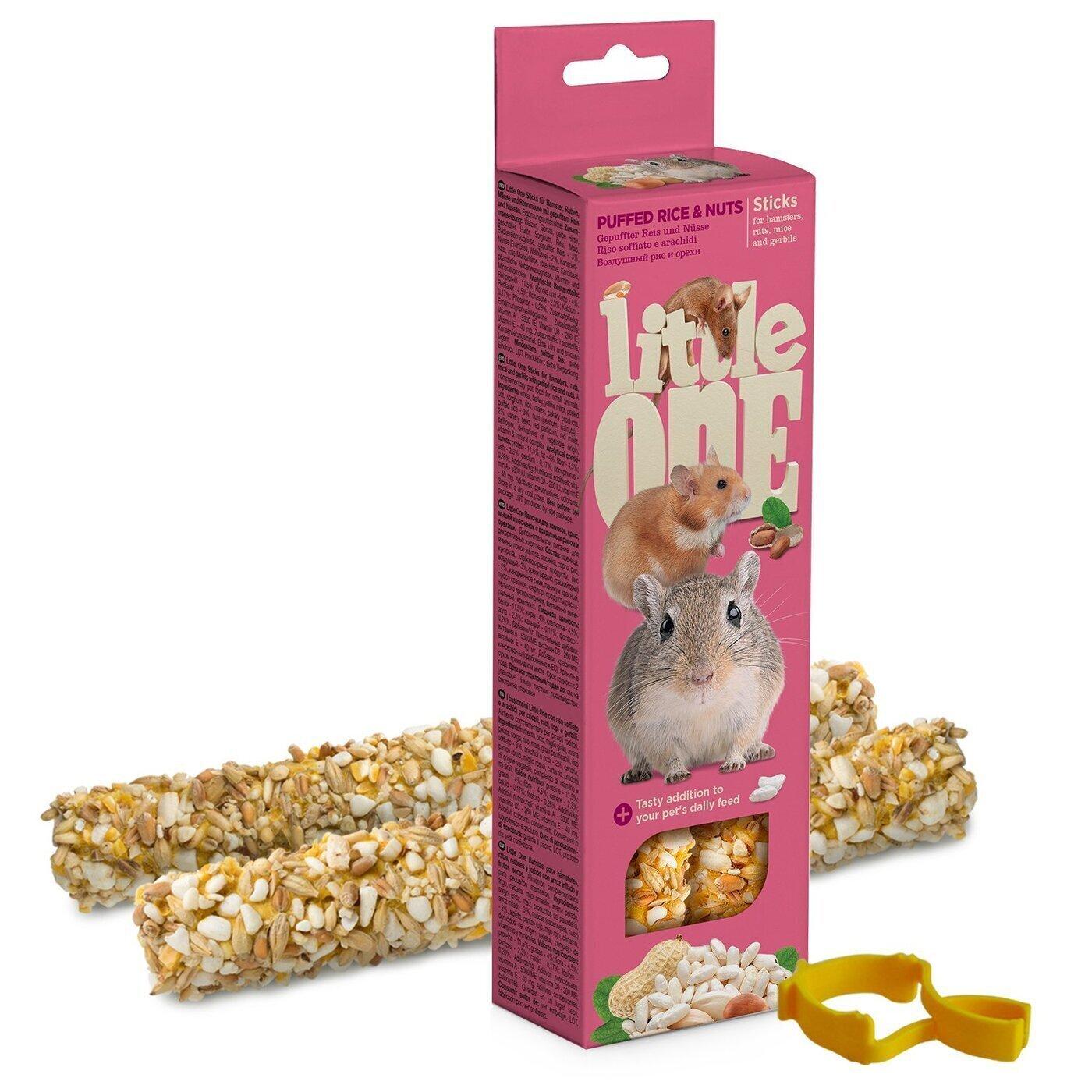 Little One палочки для хомяков, мышей и песчанок, с воздушным рисом и орехами 110 гр