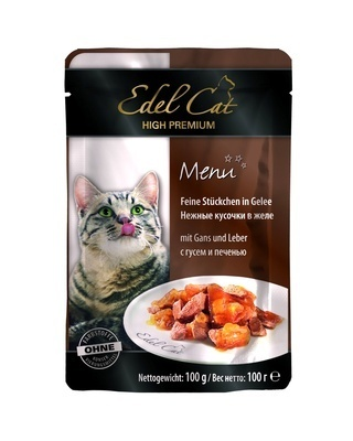 Edel Cat влажный корм для взрослых кошек всех пород, c гусем и печенью 100 гр, 500100784