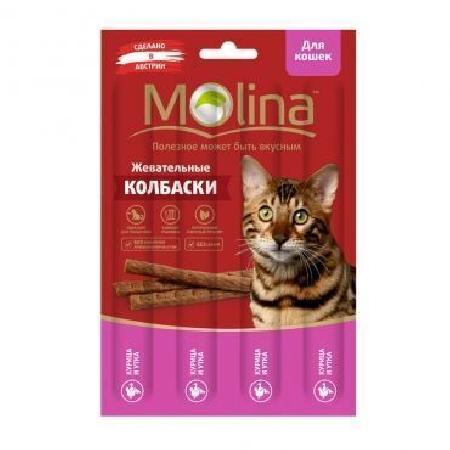 Molina лакомство для кошек, жевательные колбаски, курица и утка 20 гр