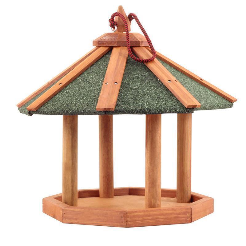 BHW1017  Кормушка деревянная подвесная уличная для птиц 43,7х43,7х39,5см