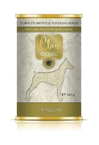 Clan Classic влажный корм для взрослых собак всех пород, мясное ассорти с рубцом 340 гр