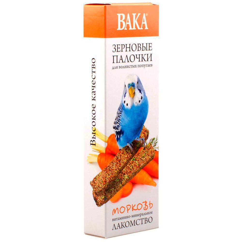 Зерновые палочки ВАКА для волнистых попугаев морковь 2шт.