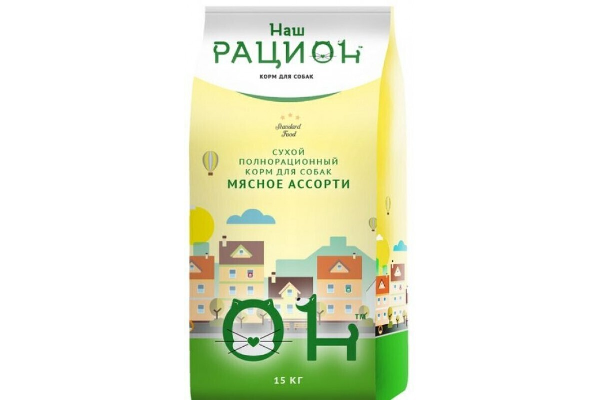 Сухой корм ТМ «Наш рацион» для взрослых собак мясное ассорти, 15 кг