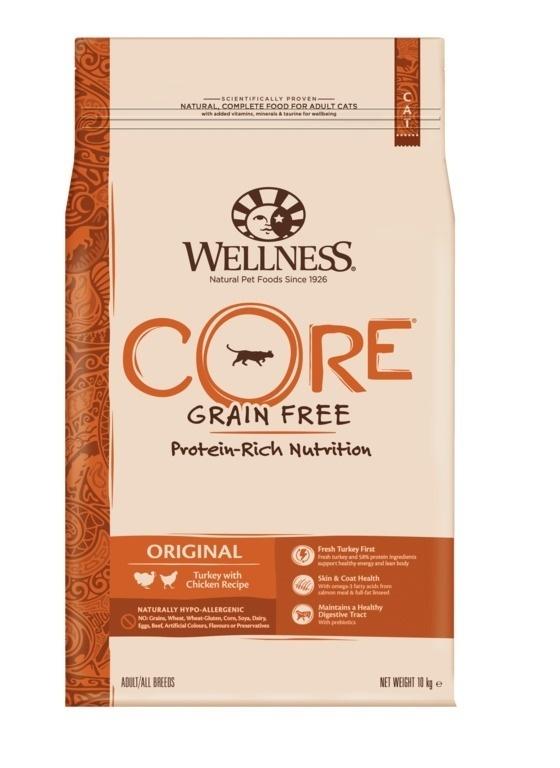 Wellness CORE корм для взрослых кошек с индейкой и курицей 10 кг